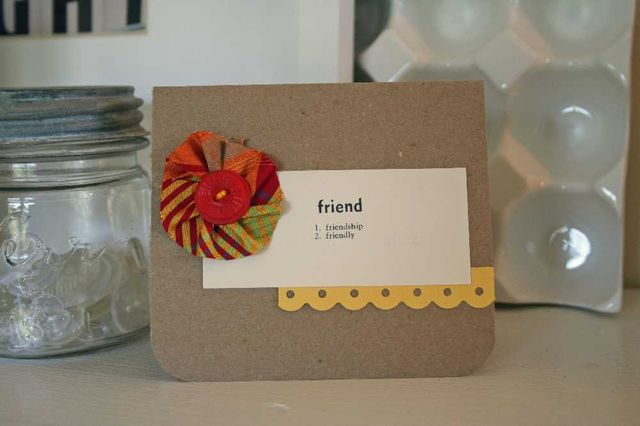 Silk flower friend card