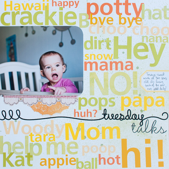 Toddler's first words scrapbook layout