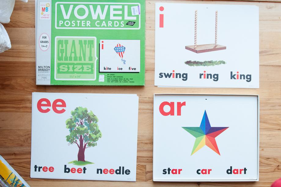 Vintage vowel poster cards