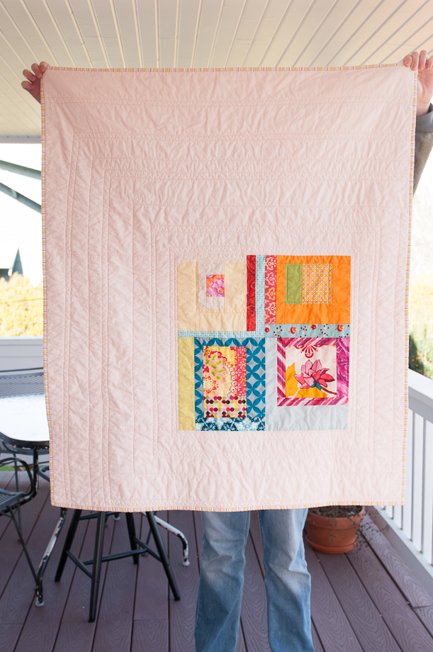 Simple pink box modern baby quilt