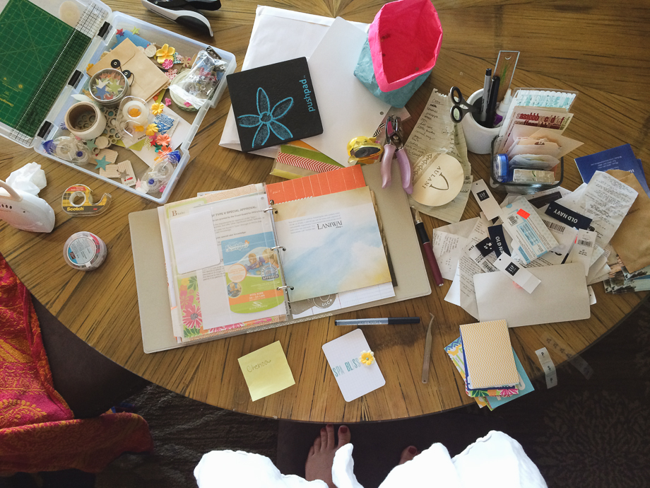 scrapbooking while on vacation